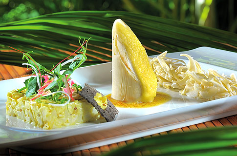 Sacrechien fish fillet a la Plancha ,Maki of palm heart and Crabmeat Branbadea with Passion fruit dr