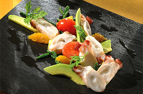 Freemantle Octopus Ceviche with Avocado and Salicornia Cress