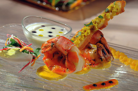Duet of Palm heart, roast prawn tails with coriander