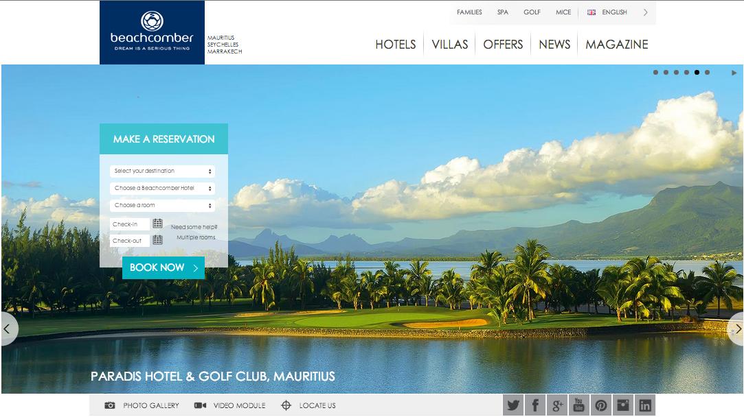 Beachcomber hotels d voile le nouveau design de son site for Site des hotels